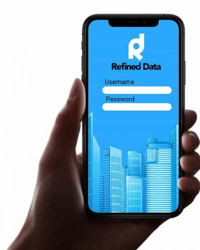 Refined Data's Mobile app on a smartphone held in someone's hand.